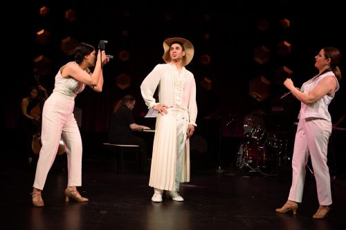 Rinabeth Apostol*, Wilson Jermaine Heredia*, and Melissa WolfKlain* in Starting Here, Starting Now at San Francisco Playhouse.